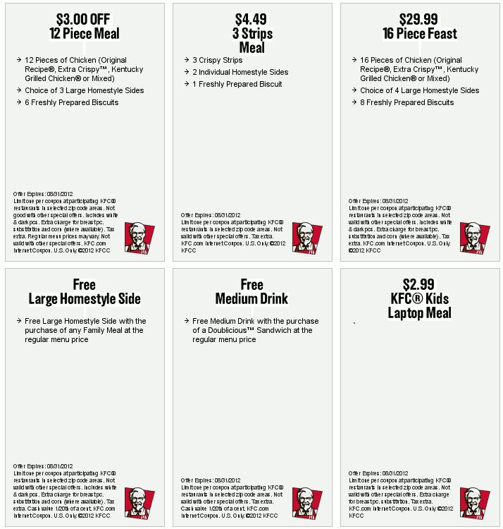 2012年8月美国kfc优惠券,英文版kfc优惠券,有效期至2012年8月31日