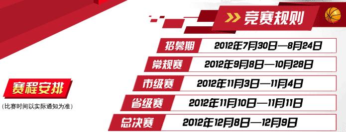 2012KFC三对三篮球赛赛程安排