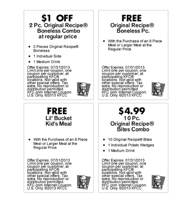 美国KFC优惠券打印效果