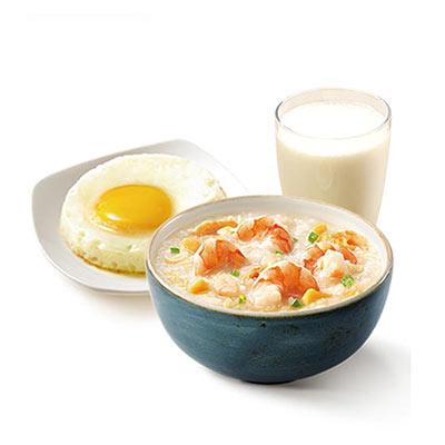 大虾粥太阳蛋豆浆餐