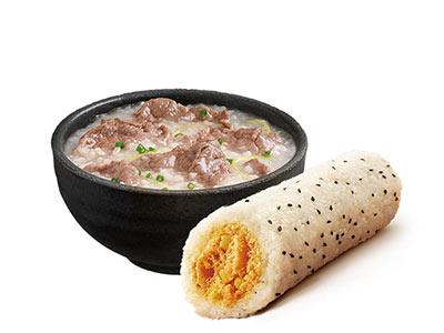 生滚牛肉粥+肉酥油条饭团