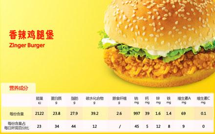 肯德基香辣鸡腿堡,价格16.50元/个