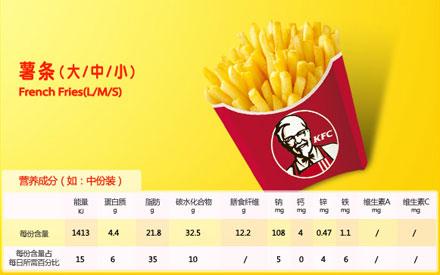 肯德基薯条(大/中/小),价格9.50元/中份