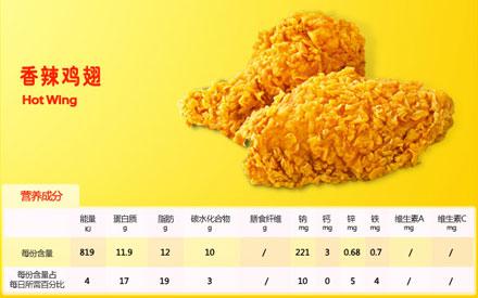 肯德基香辣鸡翅,价格9.50元/对(2块)